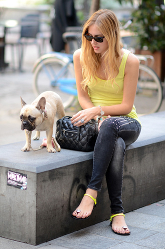 black sunglasses yellow shoes chiara the blonde salad yellow tank top