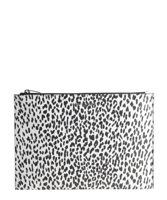 Saint Laurent white and black babycat printed leather cosmetic case | BLUEFLY up to 70% off designer brands