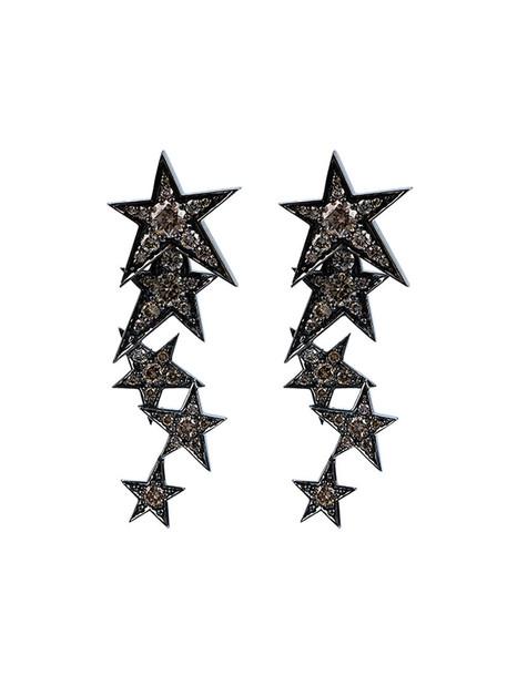 rock women earrings gold white black jewels