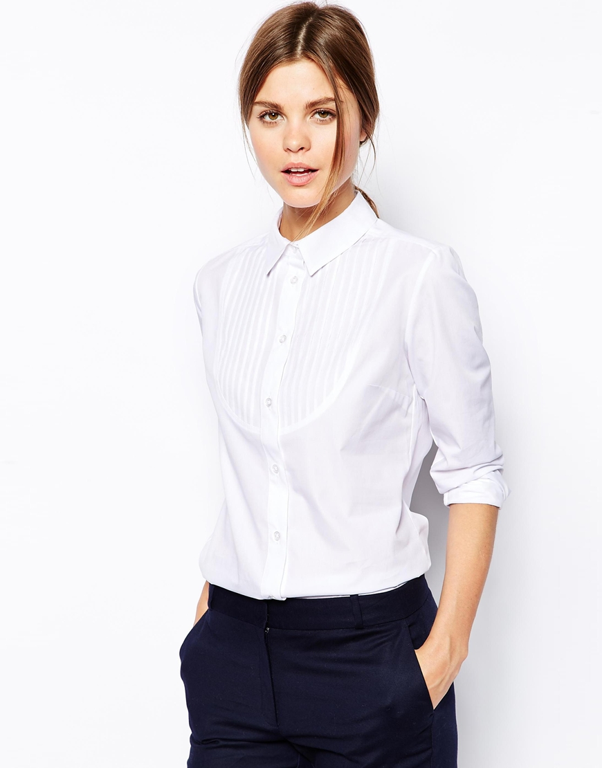 ASOS Fitted White Shirt with Bib Detail at asos.com