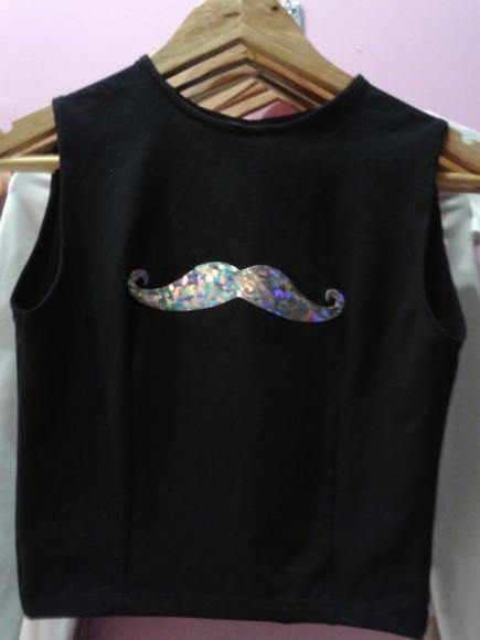 mustache shirt t-shirt black holographic crop