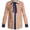 Guns-print bow-embellished silk-twill blouse