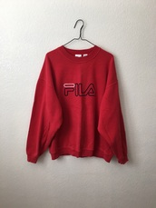 sweater,90's,fila,sweatshirt,jumper,red,vintage,90s style,green,fila sweater