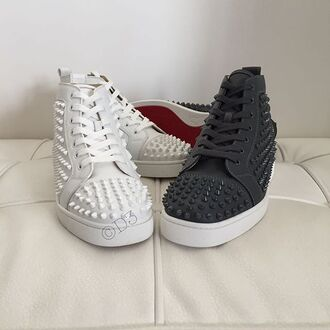 shoes black white spikes studs