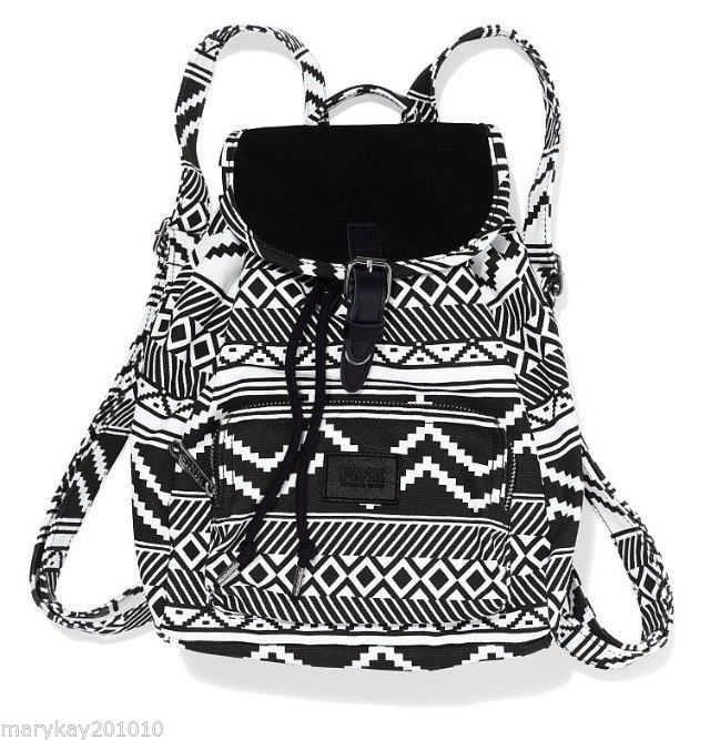 Victoria Secret Pink Mini Aztec Backpack Tote Book Gym Bag Black ...