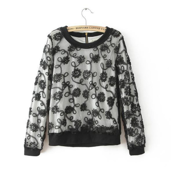 blouse sweatshirt black lace blouse floral lace sweet top