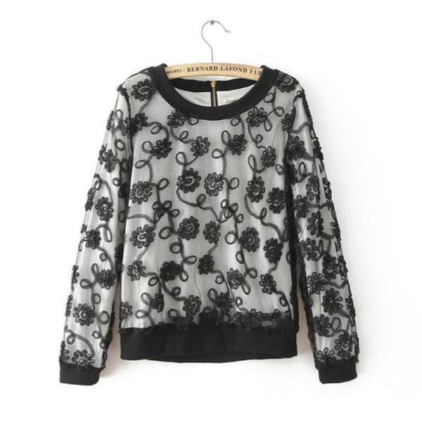 blouse sweatshirt black lace blouse floral lace sweet top