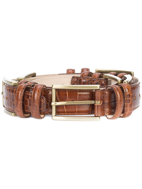 Y / Project buckles women belt leather brown