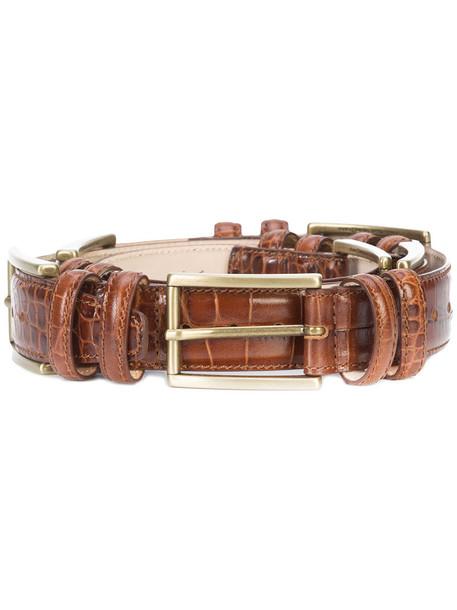 buckles women belt leather brown