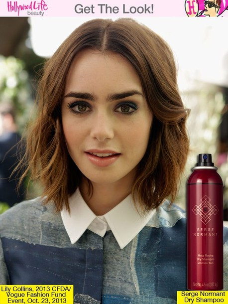 blouse lily collins shirt blue shirt white shirt vintage indie beautiful hairstyles short hair brunette celebrity lillycollins lily collins blue white gold