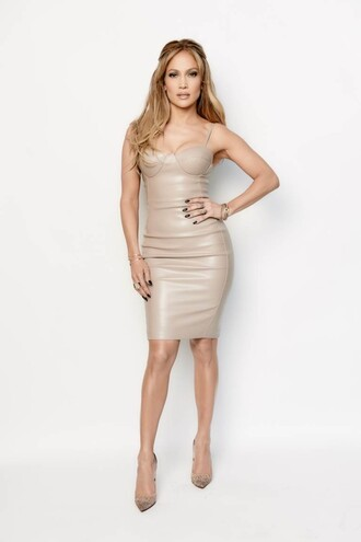 dress nude jennifer lopez pumps bodycon bustier dress