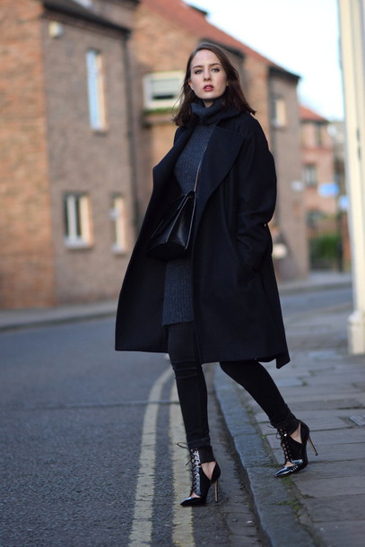 shot from the street blogger sweater bag jeans coat shoes