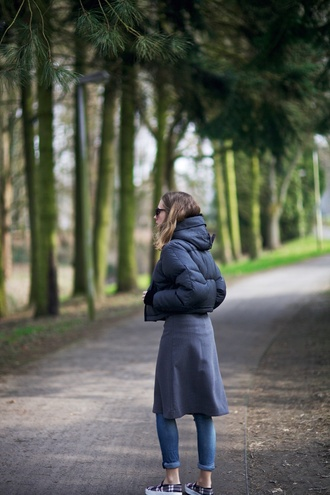 vasilieva blogger jeans down jacket grey dress