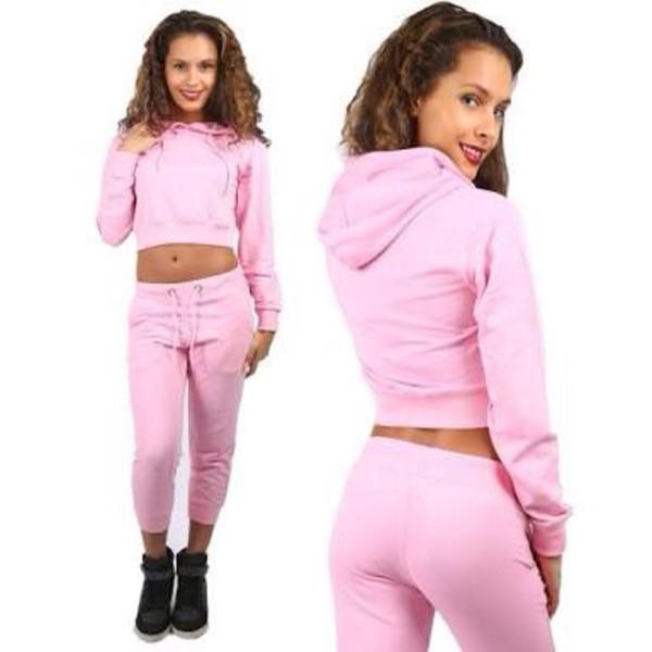 67f9378ee2f Womens Ladies Plain Cropped Belly Hoody Sweatshirt Top Joggers ...