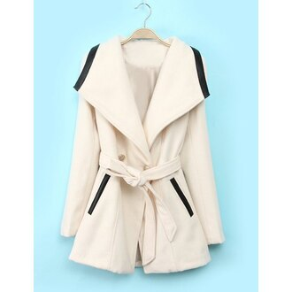 coat long sleeves white pockets cool black and white fall outfits spring