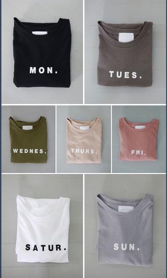 shirt weekday black neutral nude grey friday weekend minimalist