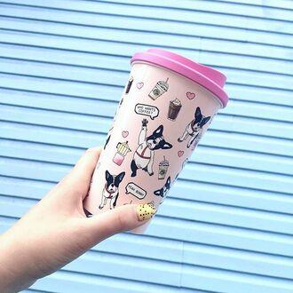 home accessory yeah bunny tumbler pink cute coffee frenchie dog dog print girly coffe travel mug