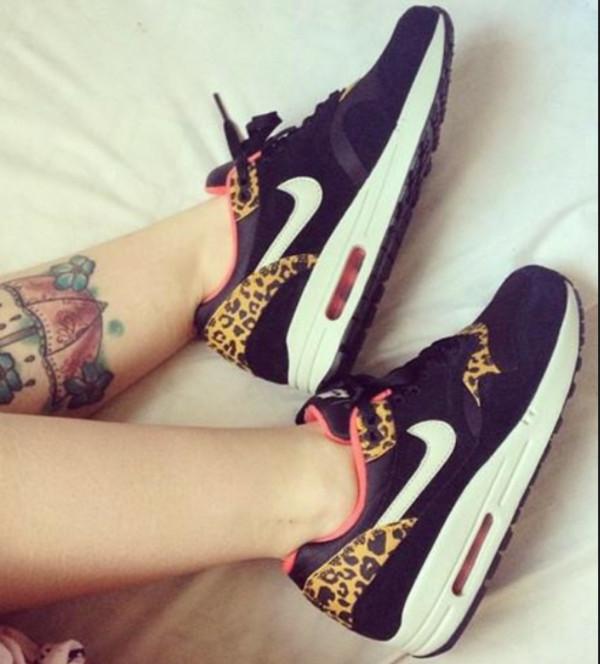 shoes nikes nike air max 1 nike air max 90 nike nike leopard