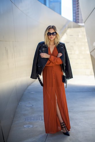 late afternoon blogger sunglasses rust chiffon dress button up fall dress black leather jacket slit dress black sunglasses pointed toe