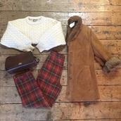 coat,tartan,pants,fur,fur coat,and bags,handbag,jumper,winter sweater,winter outfits,winter coat,red,oodt,ootd,suede jacket,style