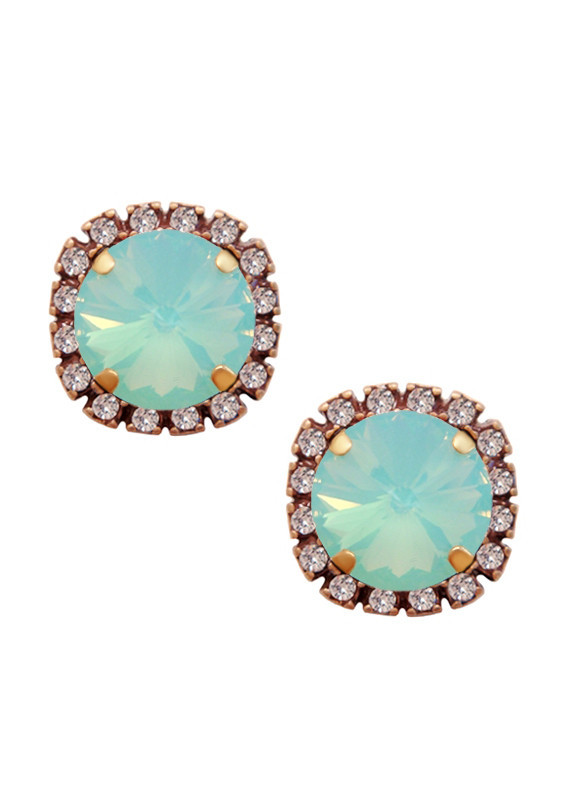 Swarovski Pave Diamond Cut Studs - Opalescent Ocean Blue | JewelSugar