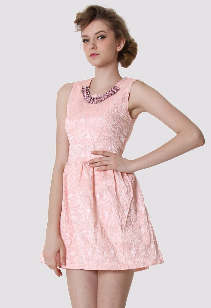 Cocktail Dress - Peach Pink Sleeveless Floral Dress  UsTrendy
