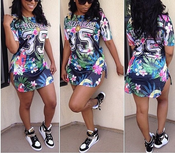 jersey dress casual laid back sporty swag sneakers tropical jersey dress cute outfits style summer dress summer outfits midi dress tomboy ring gold sequins chanel swag high top sneakers wavy haute