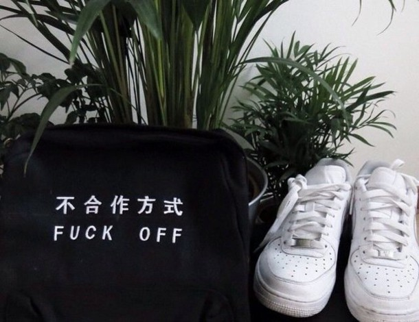 bag japanese black bag white writing japanese fashion aesthetic tumblr shorts jacket shoes black bag white shoes nike shoes nike air force 1 nike