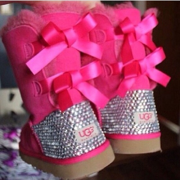 bows shoes uggs with studs pink boots