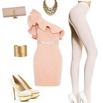 dress style fashion tights high heels clutch braclet necklace