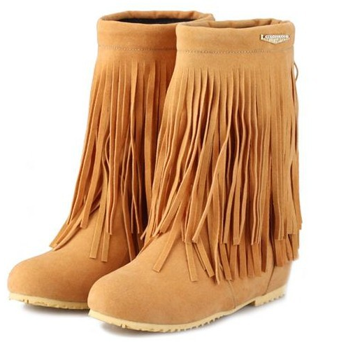 Casual Leather Fringed Boots