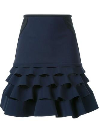 skirt mini skirt mini ruffle blue