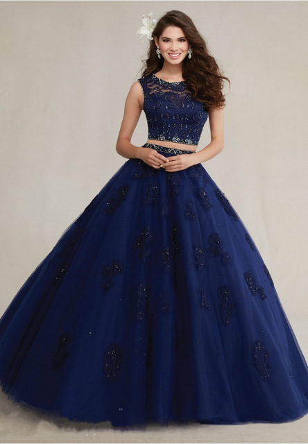 2df9f94ca64 Aliexpress.com   Buy Beaded Ball Gown Navy Blue 2 Piece Quinceanera Dresses  2016 Pink Puffy Sweet 16 Dresses Lace Appliques Vestidos De 15 Anos from ...