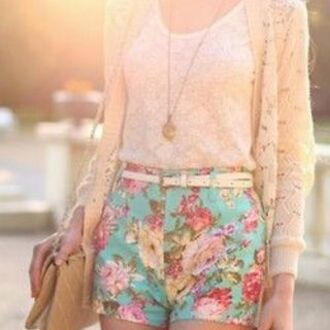 shorts floral short shorts flowers flowered shorts blue bright