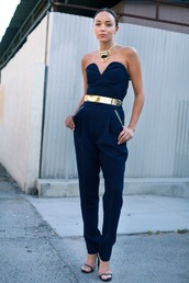 ring my bell,pants,shoes,belt,jumpsuit,black,going out,beautiful,strapless jumpsuit