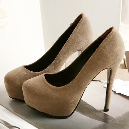 Fashion and sexy round closed toe platform super high stiletto apricot pumps