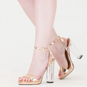 Women's Champagne Open Toe Clear Heels Ankle Strap Chunky