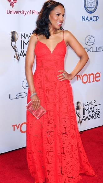 dress kerry washington red lace dress lace dress maxi dress celebrity style celebrity red carpet dress long dress clutch metallic clutch