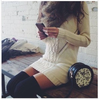 sweater cream cream dress sweater dress knitwear knitted sweater knitted top