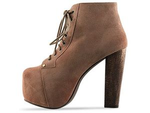 Jeffrey campbell lita in taupe suede lace up ankle boot platform heel everly