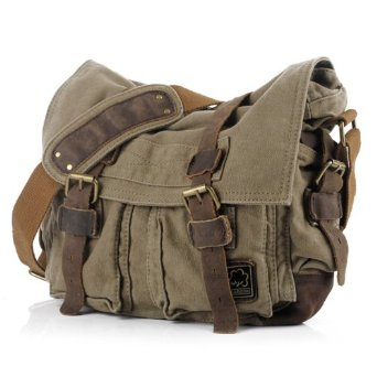 Amazon.com: EcoCity Military Soft Feeling Canvas Shoulder Messenger Bag with Leather Straps - 3 Version (X-Large, Army Green): Clothing