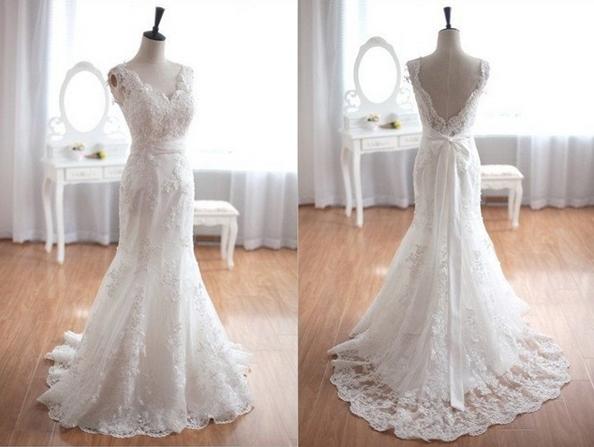 Mermaid court train v neck lace wedding dresses