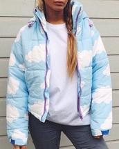 jacket,girly,girl,white,blue,tumblr,clouds,puffer jacket,coat