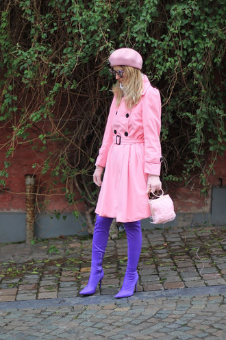 from brussels with love blogger coat shoes bag hat beret pink coat boots winter outfits