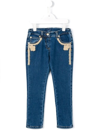 jeans embroidered jeans girl embroidered toddler blue