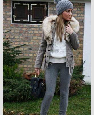 winter coat knitted beanie leggings grey coat satchel bag