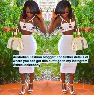 dress white top white dress party dress sexy dress crop tops caged bralette high heels platform shoes bodycon dress white crop tops white skirt skirt midi skirt midi dress maxi dress maxi skirt handbag jewelry bottoms top clubbing outfits club dresses clubwear