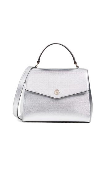 satchel metallic silver bag