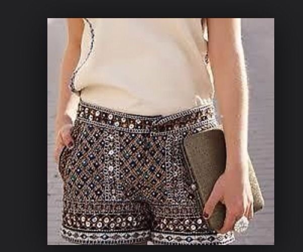 Zara Beaded Embellish Sequin Shorts Sold Out Sz Small | eBay