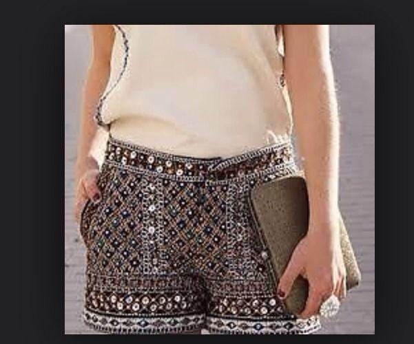 Zara Beaded Embellish Sequin Shorts Sold Out Sz Small | eBay